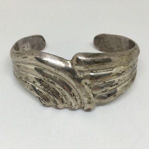 Solid silver cuff bracelet stamped , signed Mexico